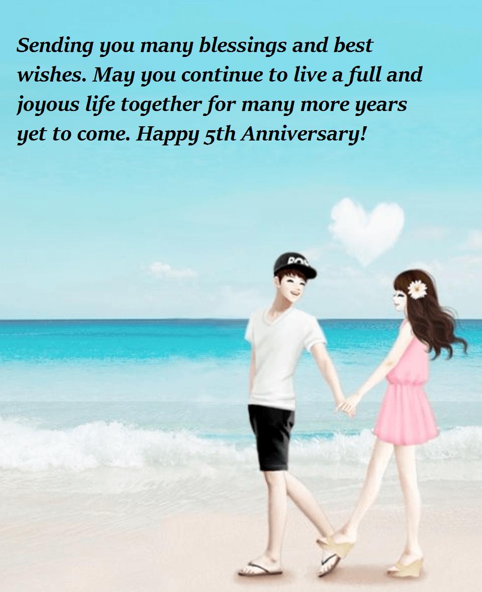 Happy 5th Wedding Anniversary Wishes to Sister | Wedding Anniversary ...