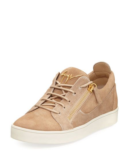 0acc5ee5aeac8 GIUSEPPE ZANOTTI Men'S Suede & Calf Hair Double-Zip Low-Top Sneaker, Beige.  #giuseppezanotti #shoes #