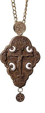 carved panagia cross $352.00   #CatalogOfGoodDeeds #cross #Cross-Panaghia #buycross #ordercross #orthodoxcross #churchgoods #churchitems #woodcarving #incrustation #semipreciousgemstones