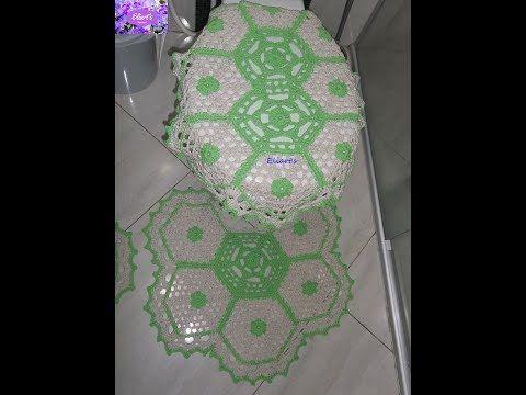 Jogo de banheiro sextavado verde limão - tampa do vaso - parte 2/2 - YouTube