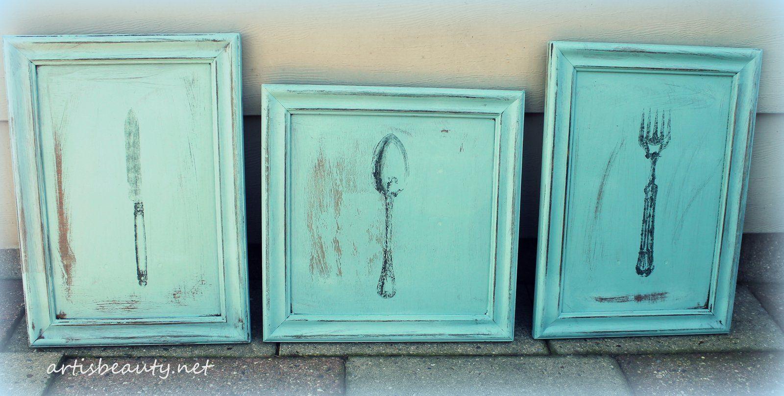 vintage Kitchen wall art. Roadside rescue cupboard doors, chalk ...