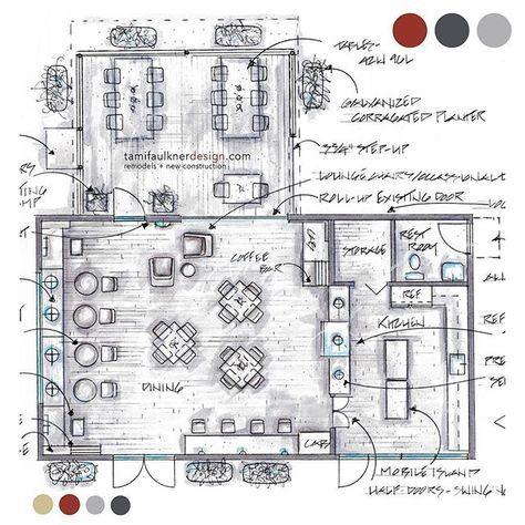 coffee shop remodel floor plan option 1/3. #tfdredpointproject