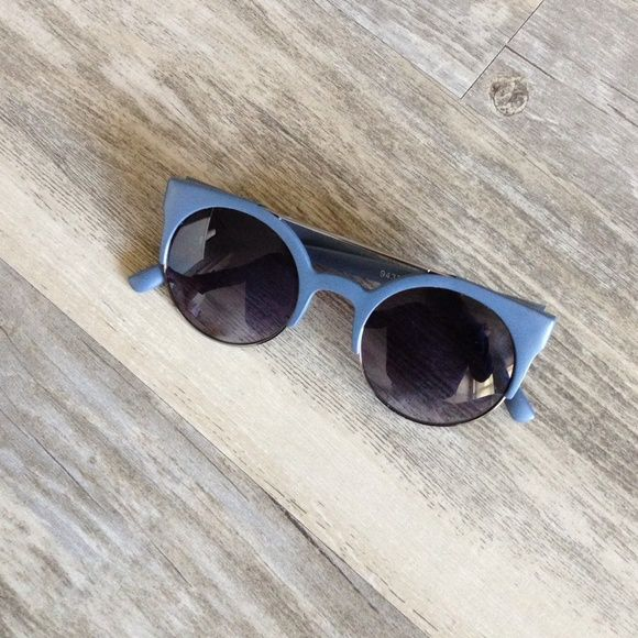Trendy Sunglasses Worn one time. These grey blue trendy shades are perfect for the trendsetter in you! Accessories Sunglasses