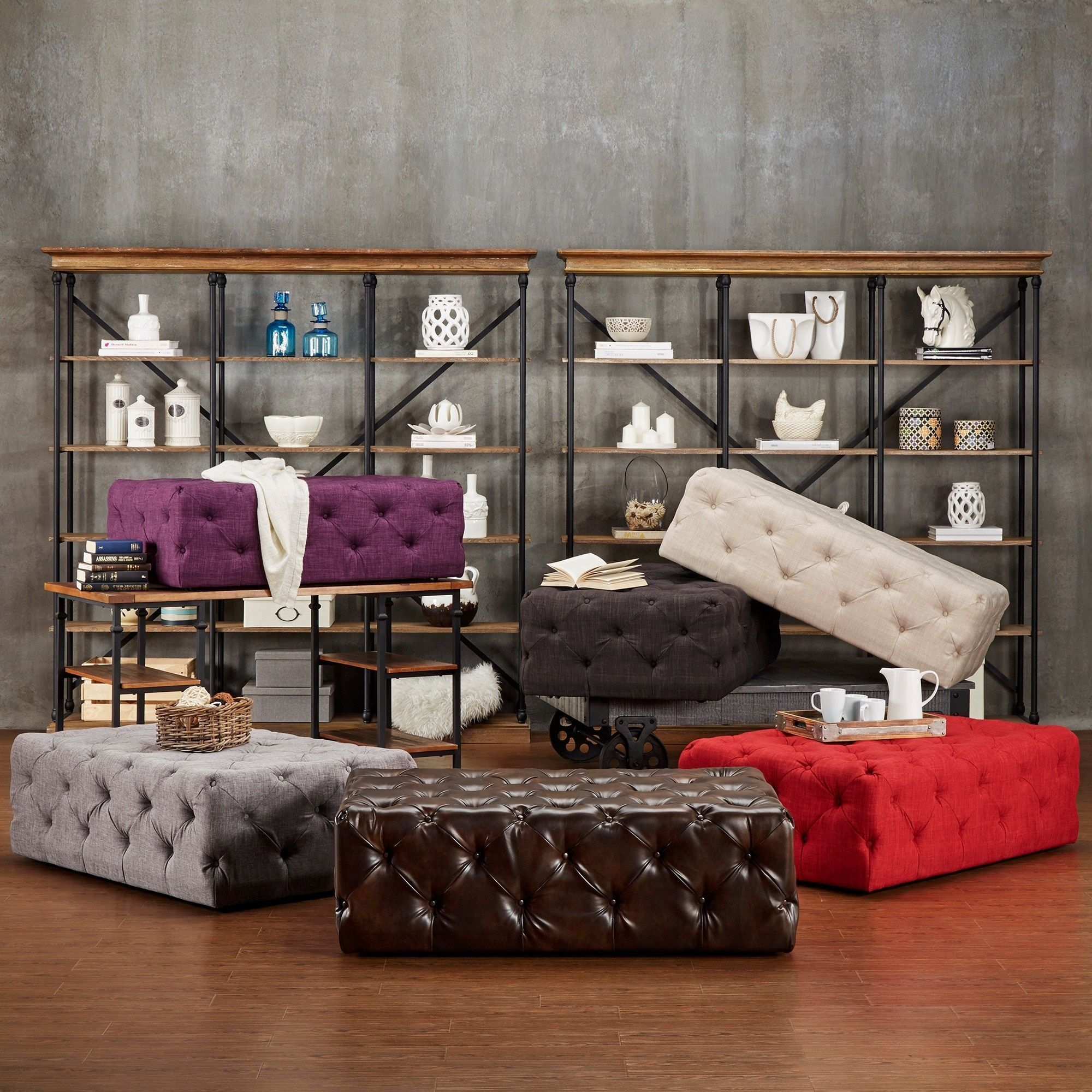Knightsbridge Rectangular Traditional Tufted Cocktail Ottoman with Casters  by SIGNAL HILLS by INSPIRE Q