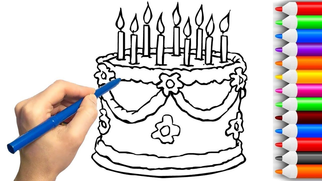 Learning Colors For Kids By Drawing Birthday Cake Coloring Pages Ch