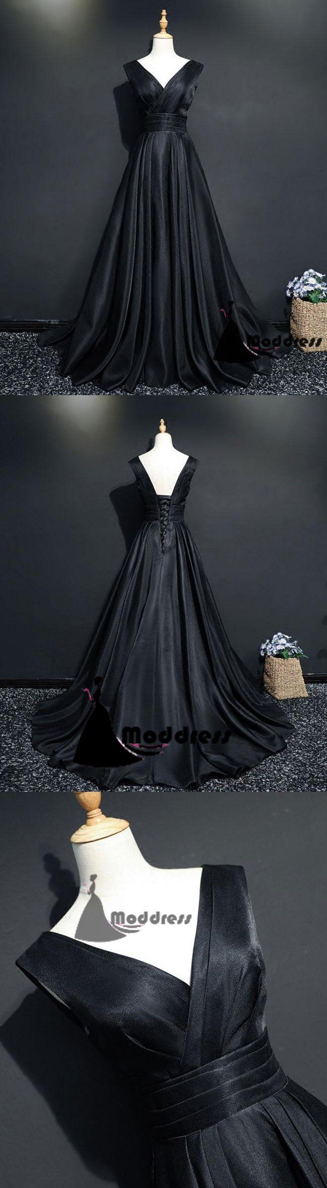 Simple long prom dress black vneck evening dress satin aline