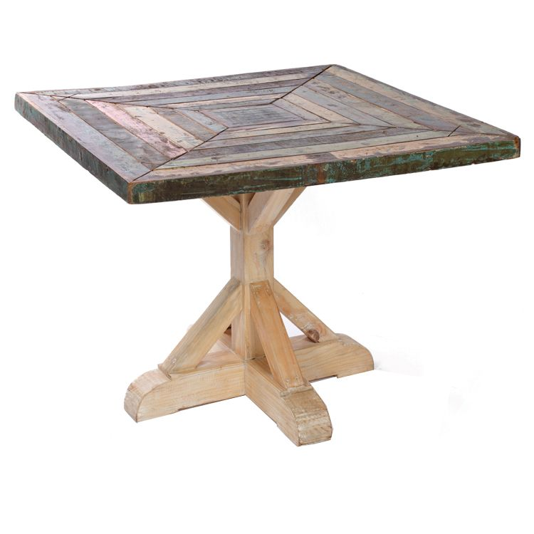 Reclaimed Boat Wood Bistro Table Square Kitchen Table Wood