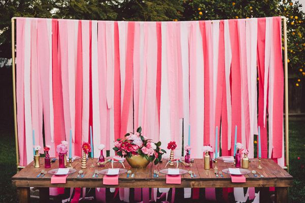 Hot Pink And Blue Wedding Ideas Ruffled Wedding Table Decorations Pink Pink Backdrop Diy Wedding Decorations