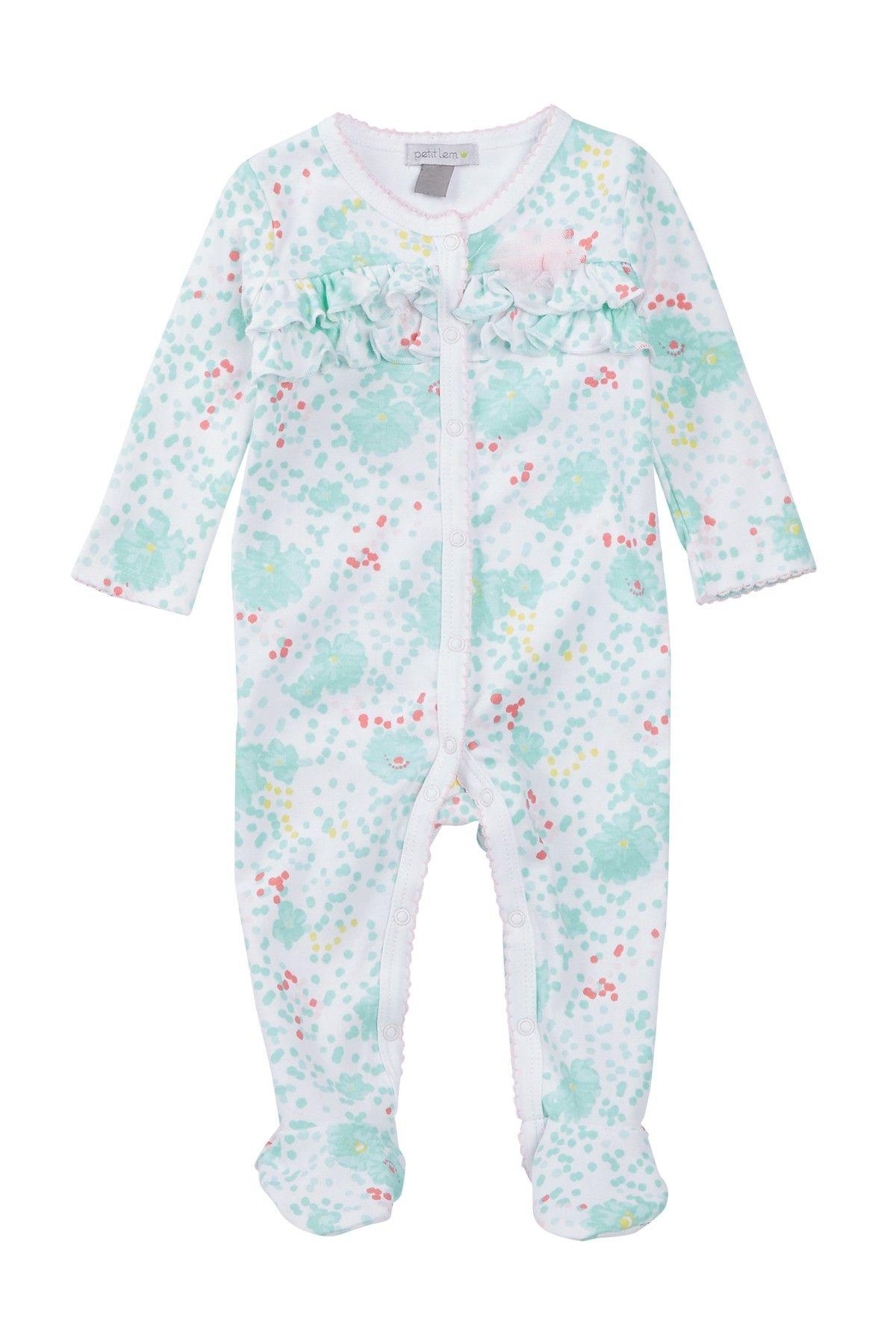 2c6dc9a49aea Ruffle Bodice Floral Sleeper Footie (Baby Girls)