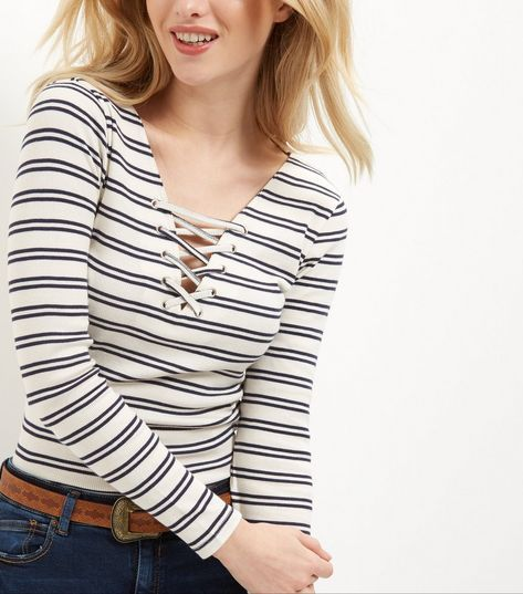 White Stripe Lace Up Long Sleeve Top    New Look