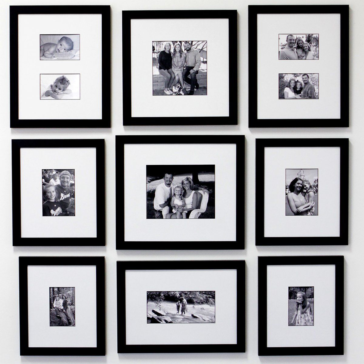 Celebrate 9 Frame Family Portrait Gallery With 3 Designer Mat Family Frames Frame Wall Collage Family Room Design