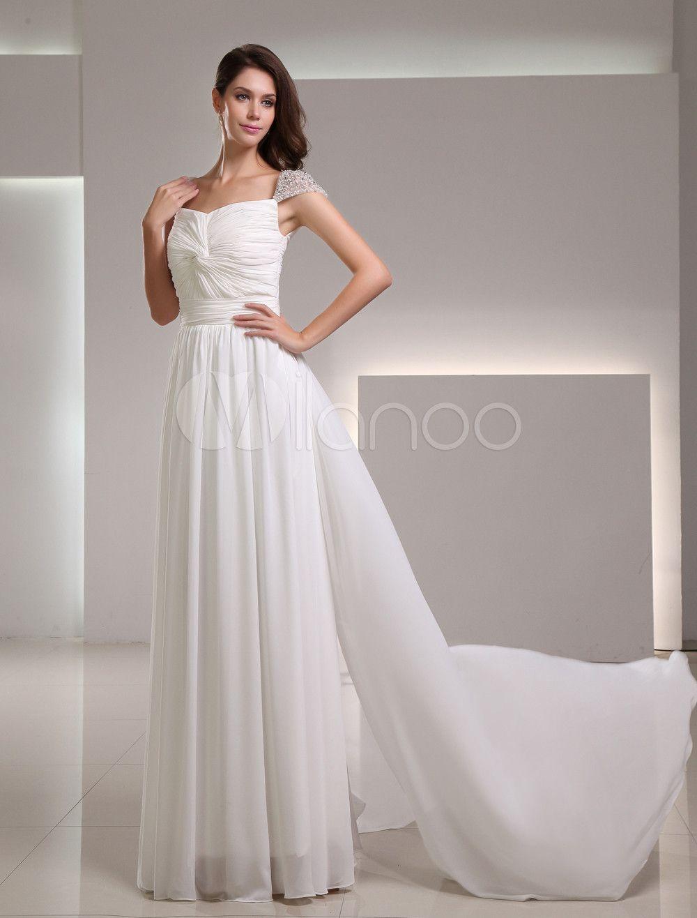Vestido de novia de marfil de gasa de línea A con hombro caído ...