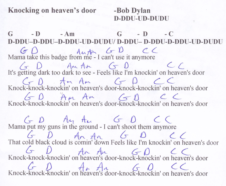 Knocking Heavens Door Bob Dylan Guitar Chord Chart