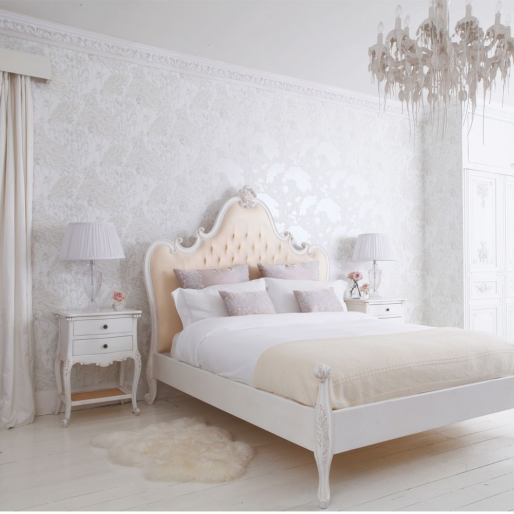 Provencal grande upholstered luxury bed french beds for French boudoir bedroom ideas