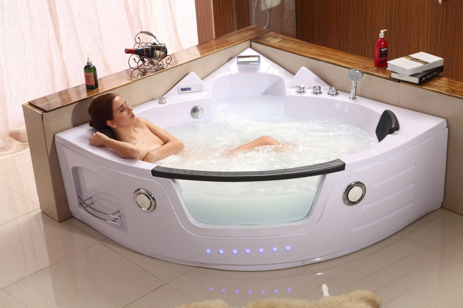 2 Person Hydrotherapy Computerized Massage Indoor Whirlpool Jetted Bathtub Hot Tub 050a White Dream Bathroom Bathtub Jetted Bath Tubs Jacuzzi Hot Tub