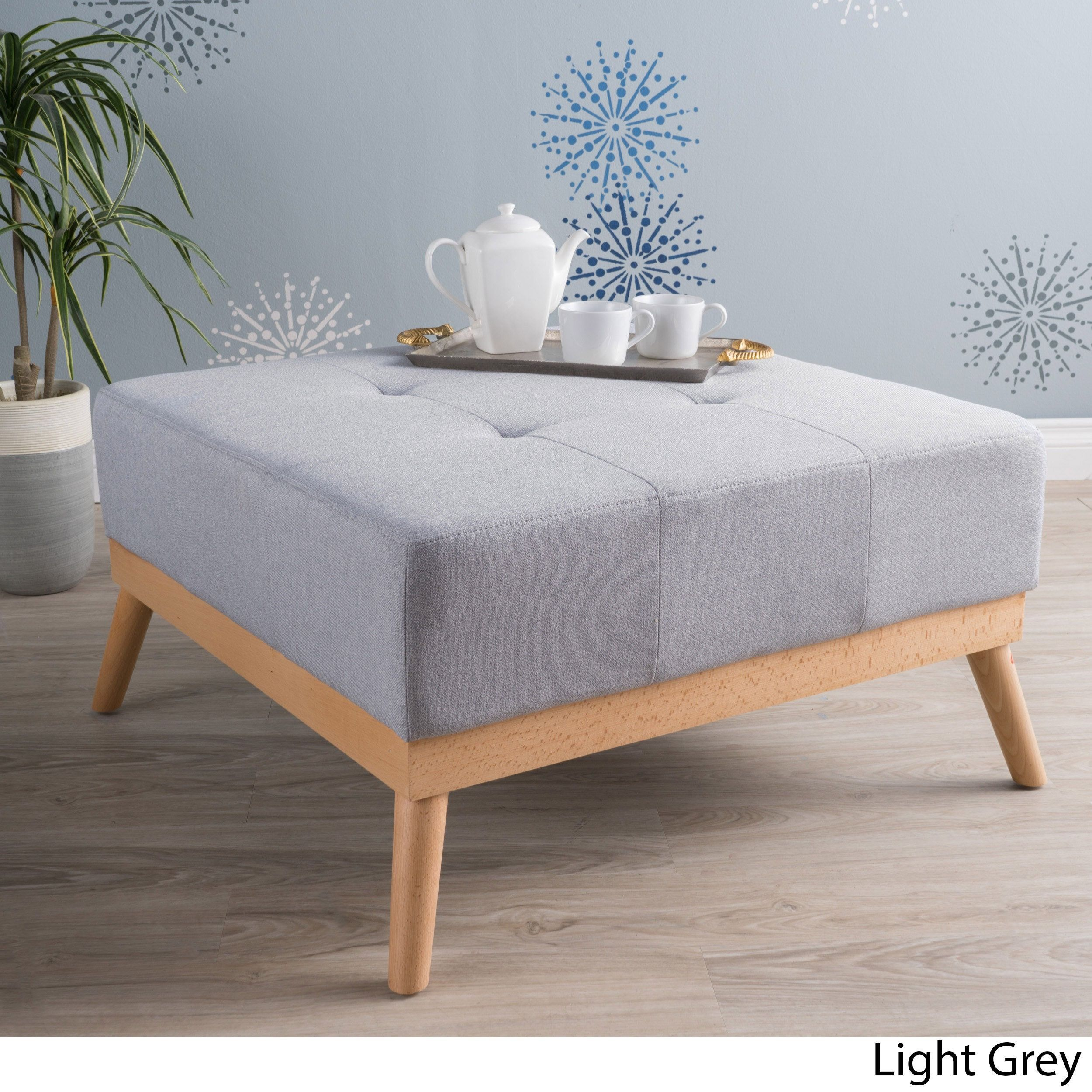 Luise Mid-Century Tufted Fabric Square Ottoman Table by Christopher ...
