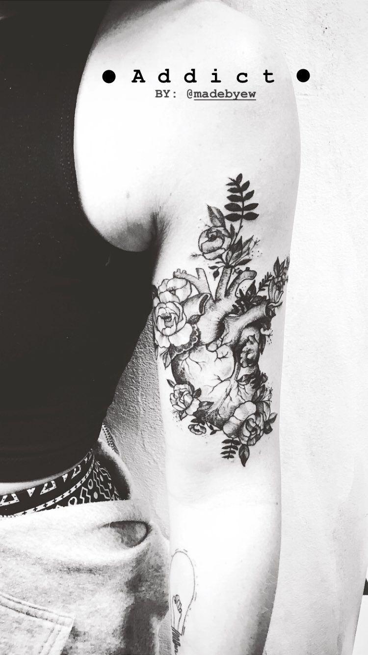 Photo of Tattoo anatomical heart 🖤 with flowers. #anatomy #tattoo