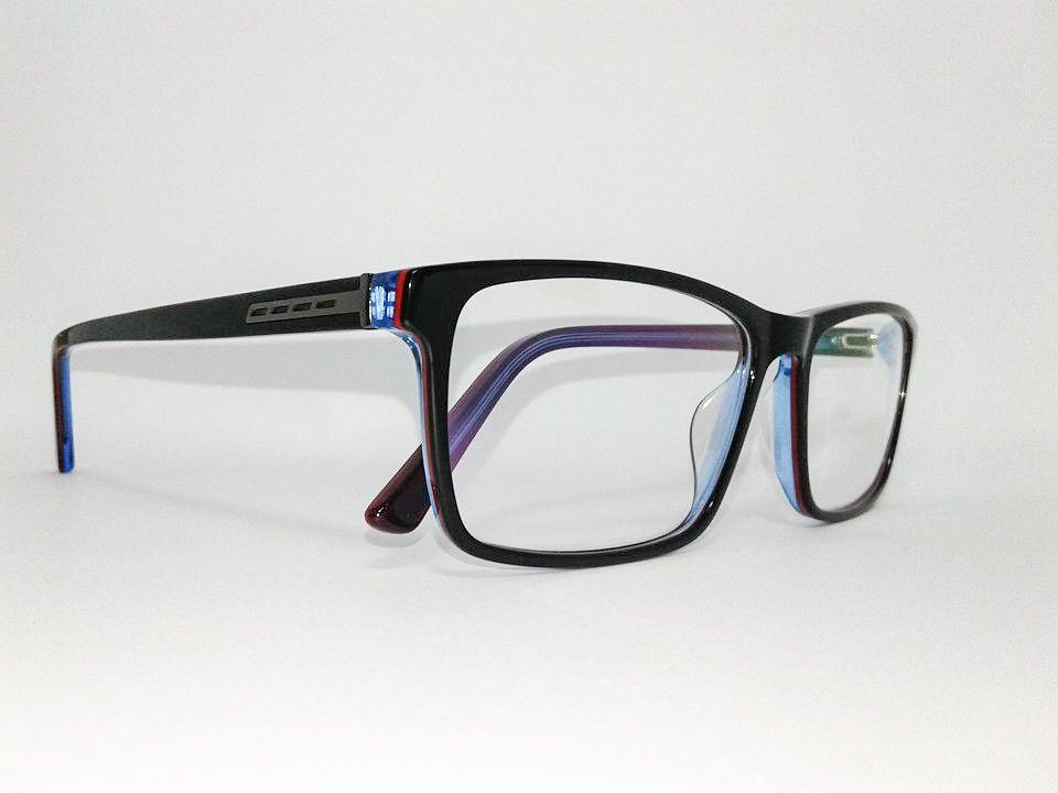 Óculos Grande Armação Acetato Masculino Tamanho 58 Preto com detalhes vermelho e azul
