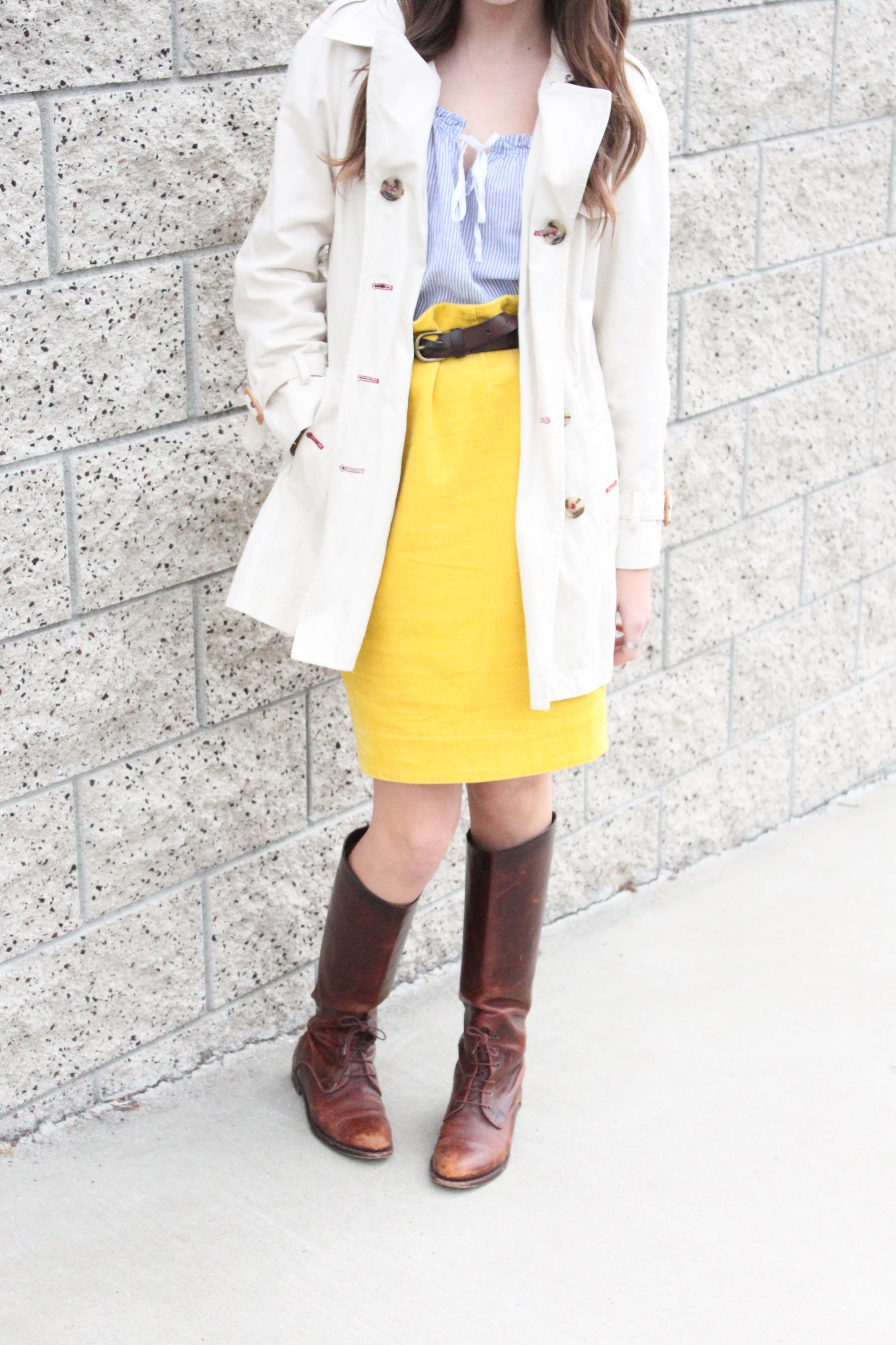 ♥ yellow skirt and blue striped shirt ♥