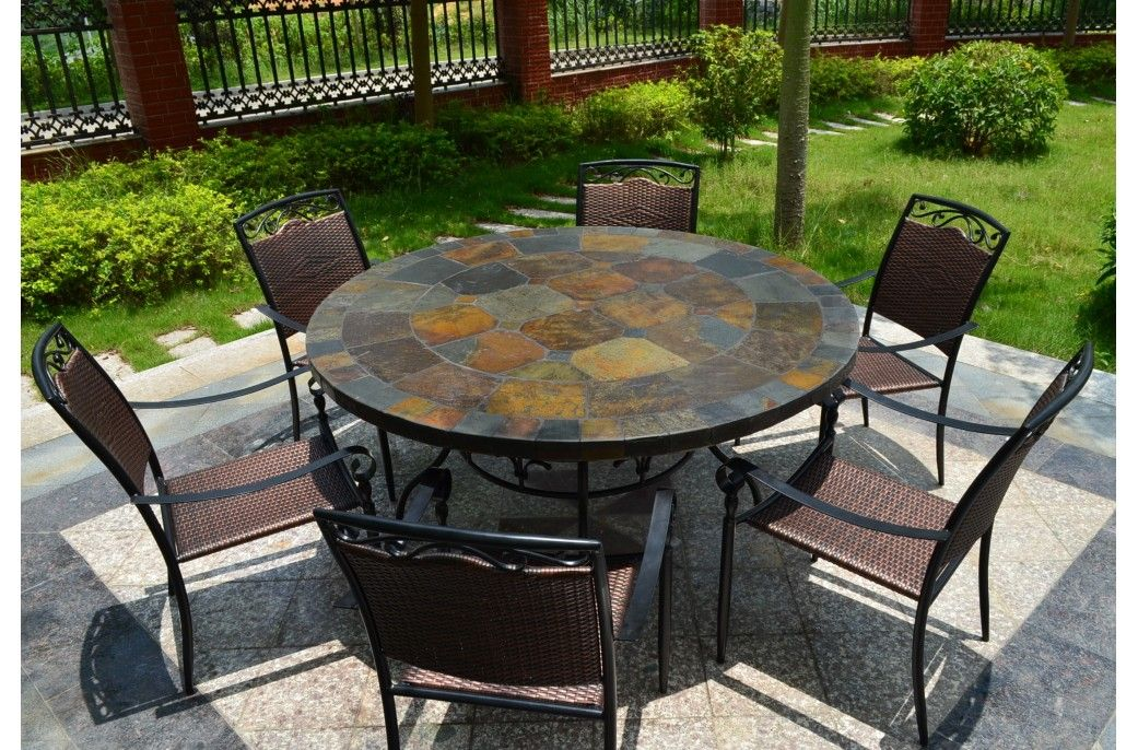125160cm Round Slate Patio Dining Table Tiled Mosaic Oceane Di 2020