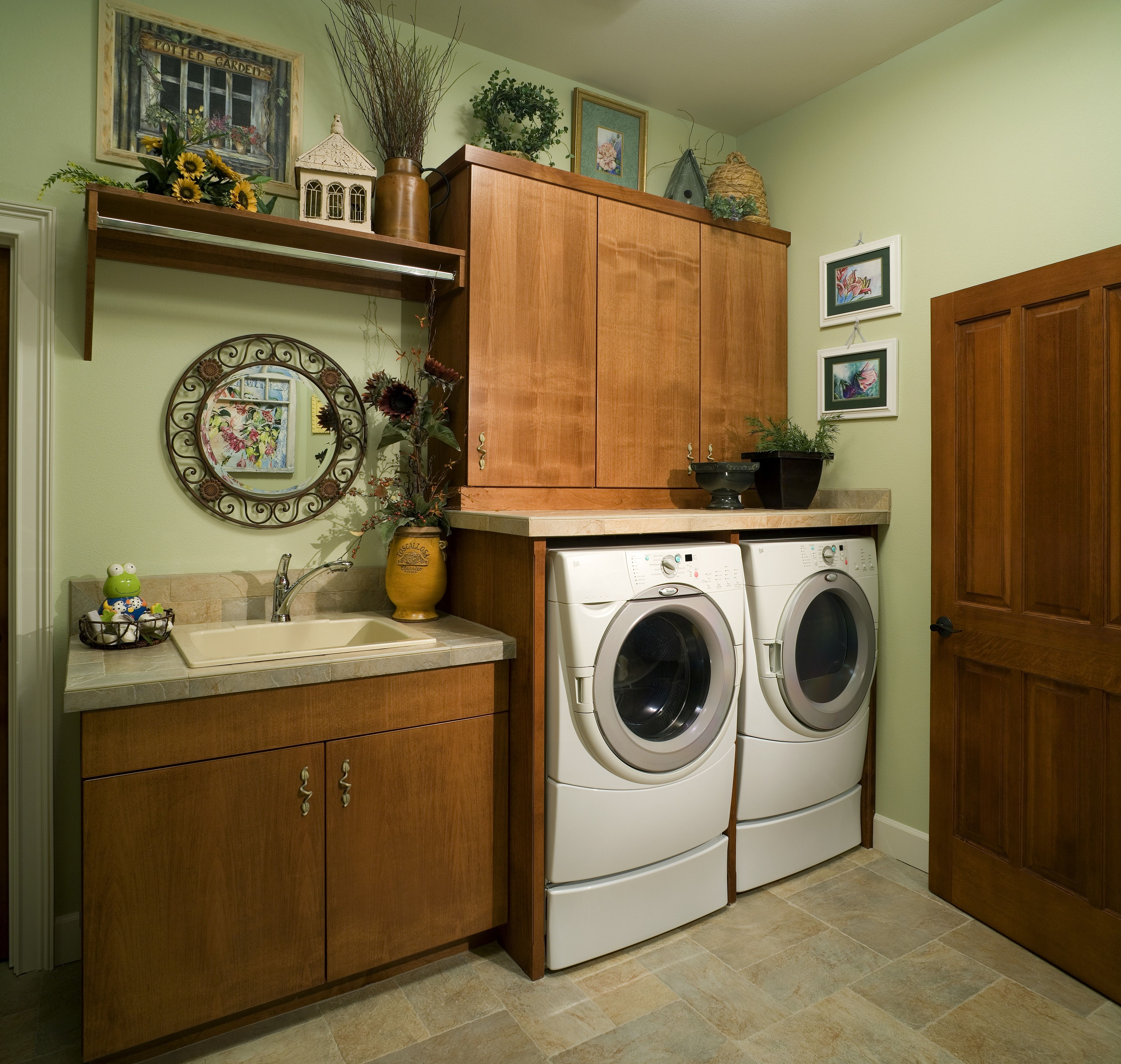 This contemporary laundry room is both casual and