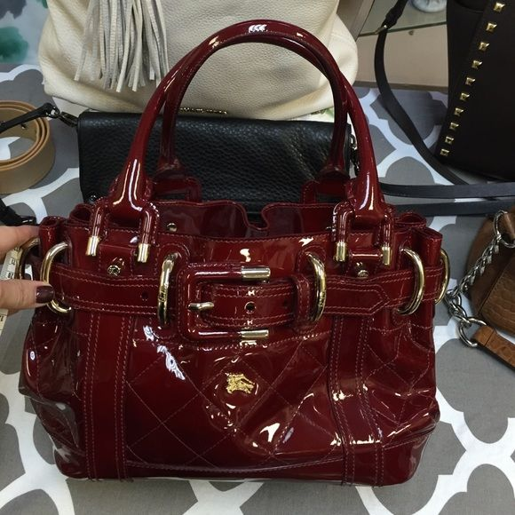 ac2fd8ad5ca3 Burberry Burgundy Patent leather handbag Burberry Beaton patent leather  handbag. Gold hardware. Comes with dust bag. Excellent condition no signs  of use.