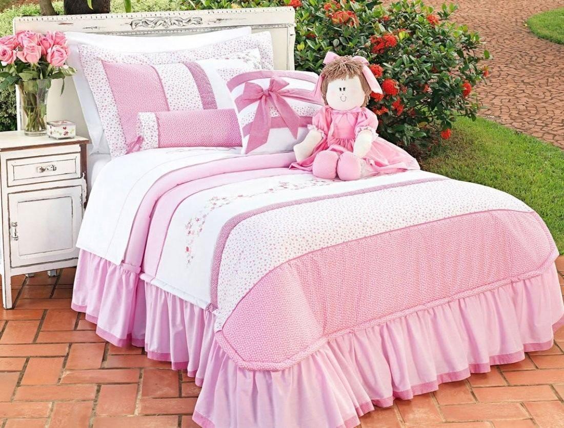 Colcha Menina Solteiro Rosa Branco 6pc S Linen Bedding Pinte Cornelia Sprei Katun Motif Angela Green