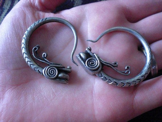 8 Gauge Little Dragons 8g 3mm Tribal Gypsy Hoop Earrings By Mraur