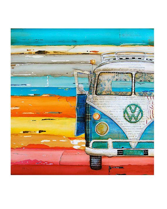 Art Print Antique Classic Car Van Retro Vintage Beach Coastal Etsy Vw Art Beach Art Art