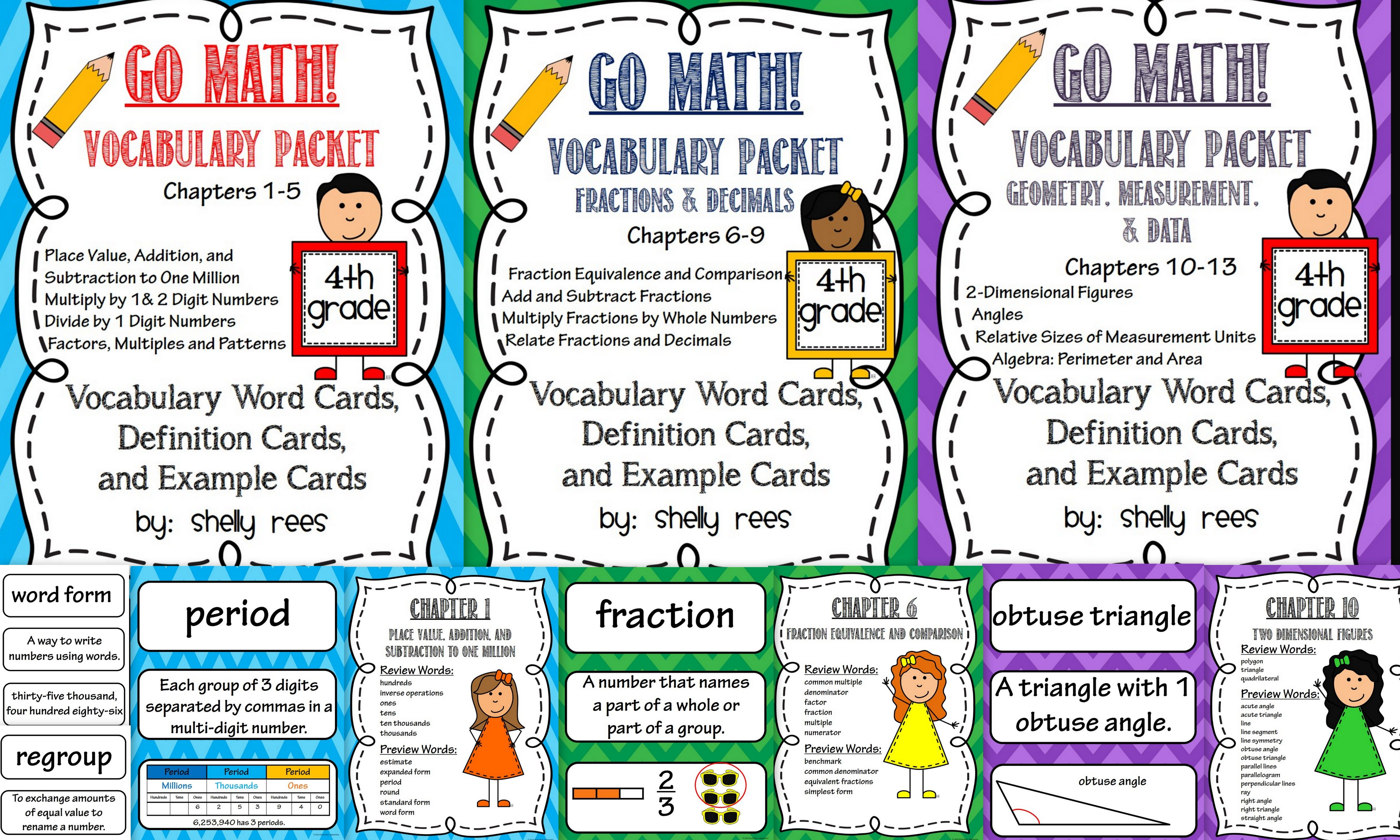 Go Math 4th Grade Vocabulary For The Year Bundle