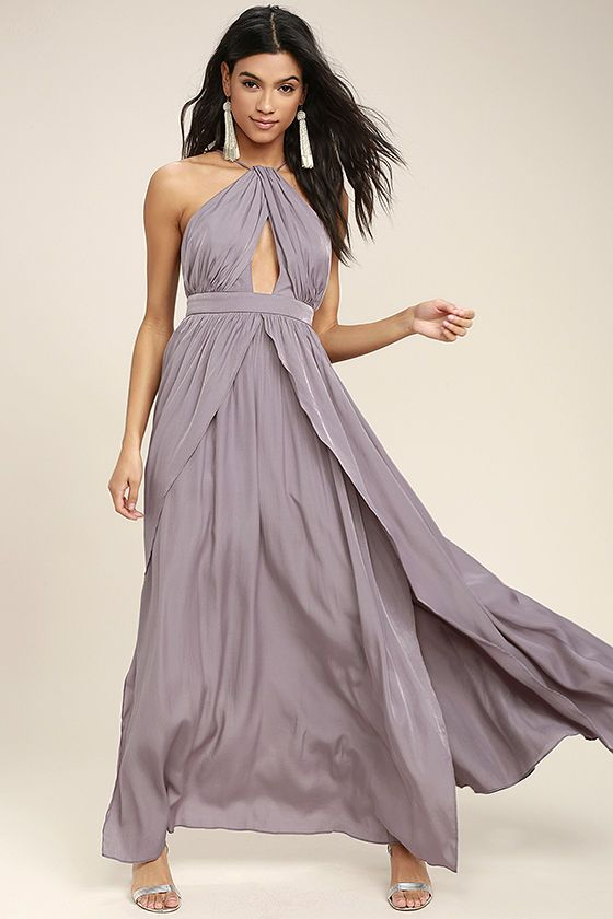 8114a2ec5e Lulus Exclusive! The On My Own Dusty Purple Maxi Dress is a party perfect  look all by itself! Lightweight woven poly shapes a modified halter  neckline with ...