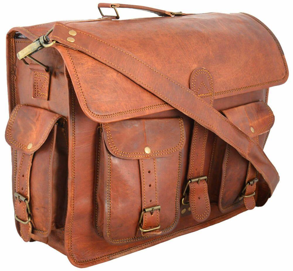 Mens Genuine Vintage Goat Leather Hand Crafted Five Pocket Messenger Small Bag