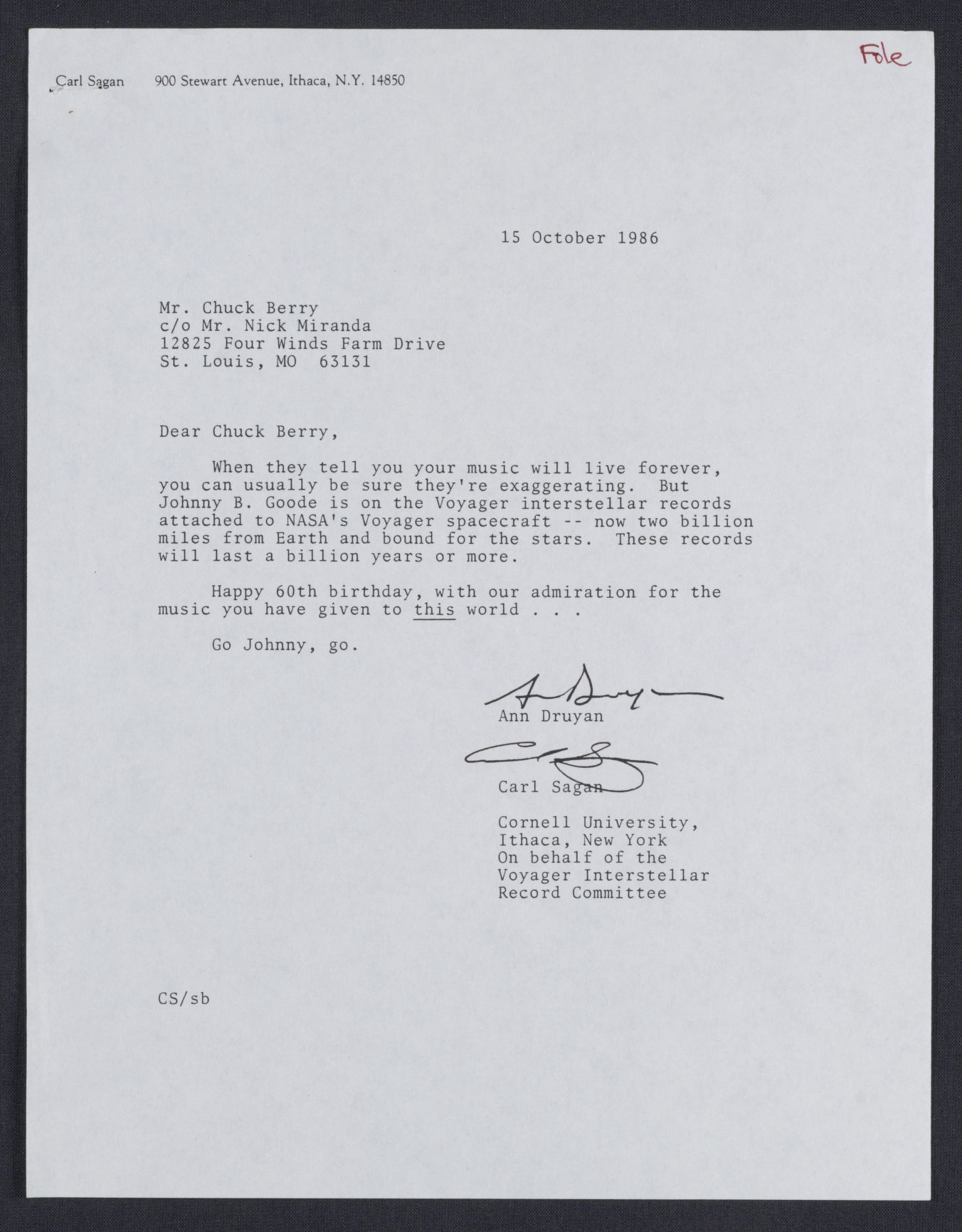 Letter To Chuck Berry From Ann Druyan And Carl Sagan