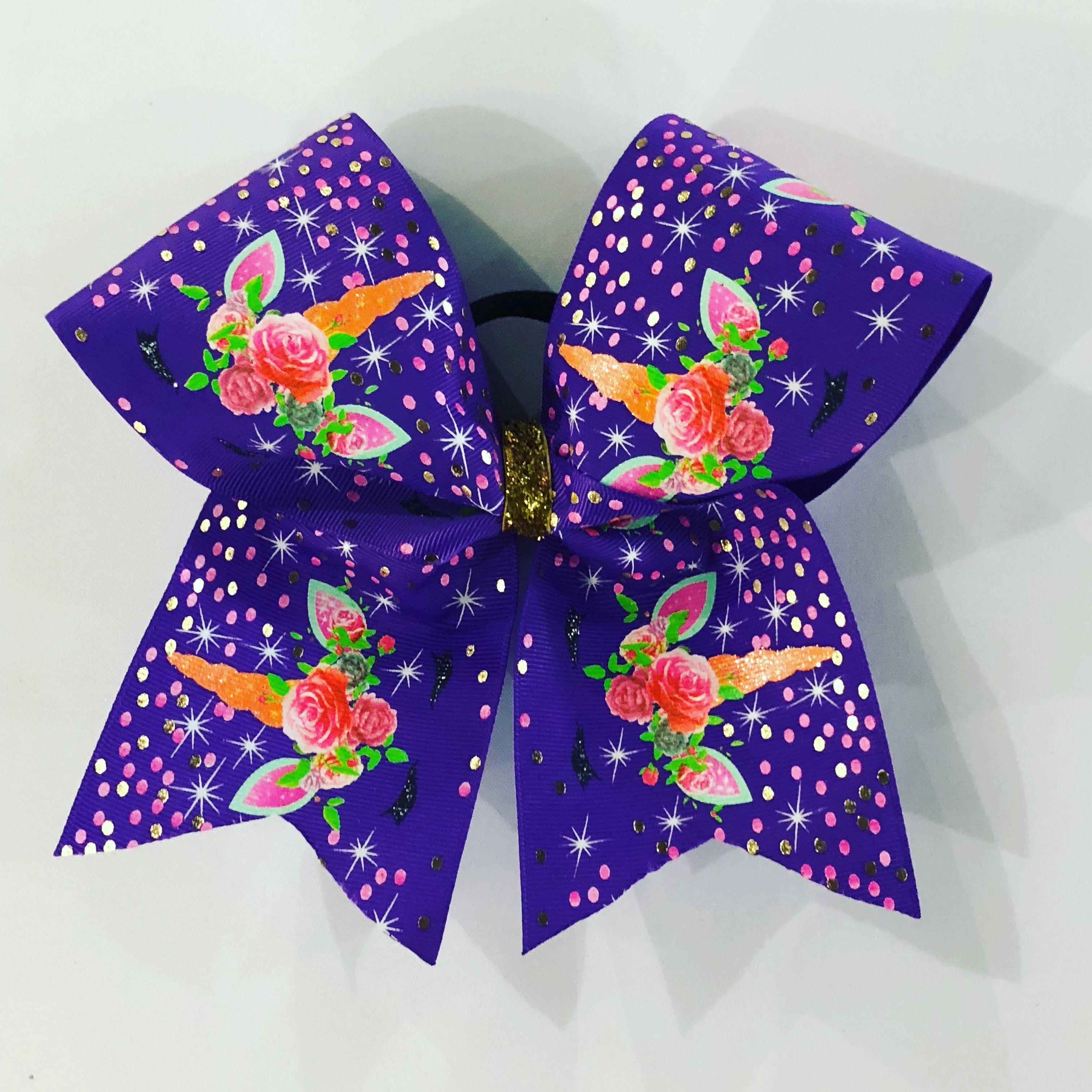 3 Purple Unicorn Bow