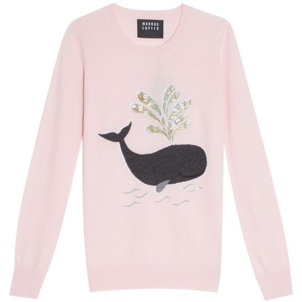 Markus Lupfer Whale Sweater ($376) ❤ liked on Polyvore featuring tops, sweaters, patterned tops, markus lupfer sweater, pink sweater, patterned sweaters and markus lupfer