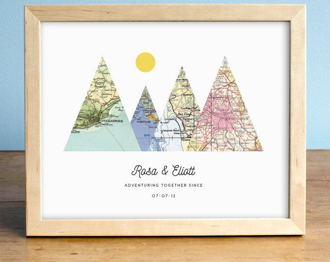 Personalized Wedding Gifts For Couples: Adventure Together Print, 4 Map Mountain Print
