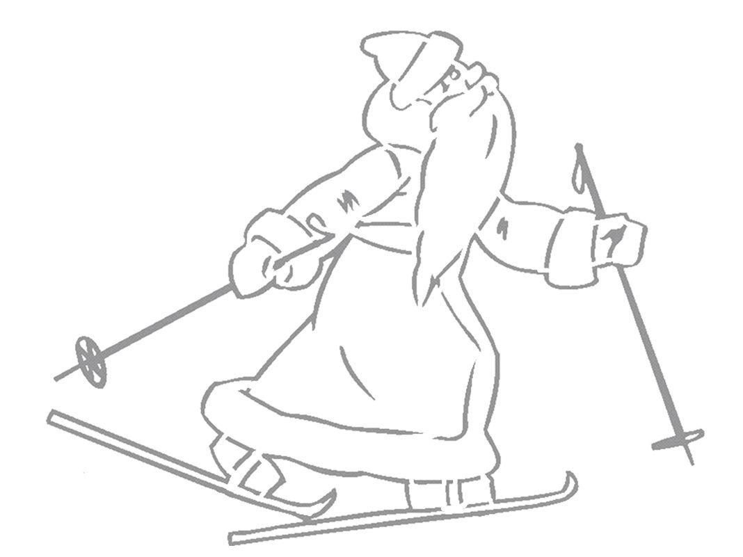 Раскраска дед мороз на лыжах