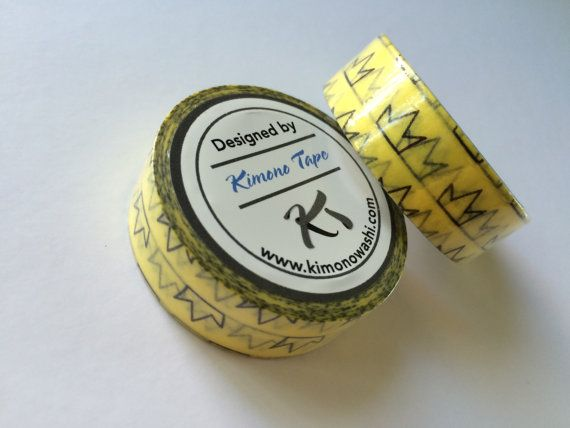 Washi tape yellow and black crown print 2/3 by WithAGrandmasLove