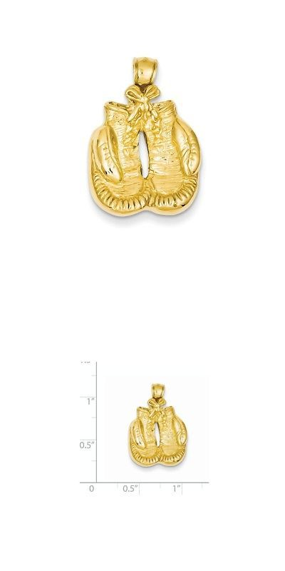 Boxing 1227: 14K Yellow Gold Polished Boxing Glove Charm Pendant - 17X25mm 3.89 Grams -> BUY IT NOW ONLY: $220.89 on eBay!