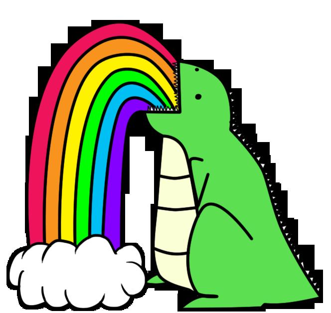 Dinosaur Puking Rainbows_ by ~I-unno on deviantART
