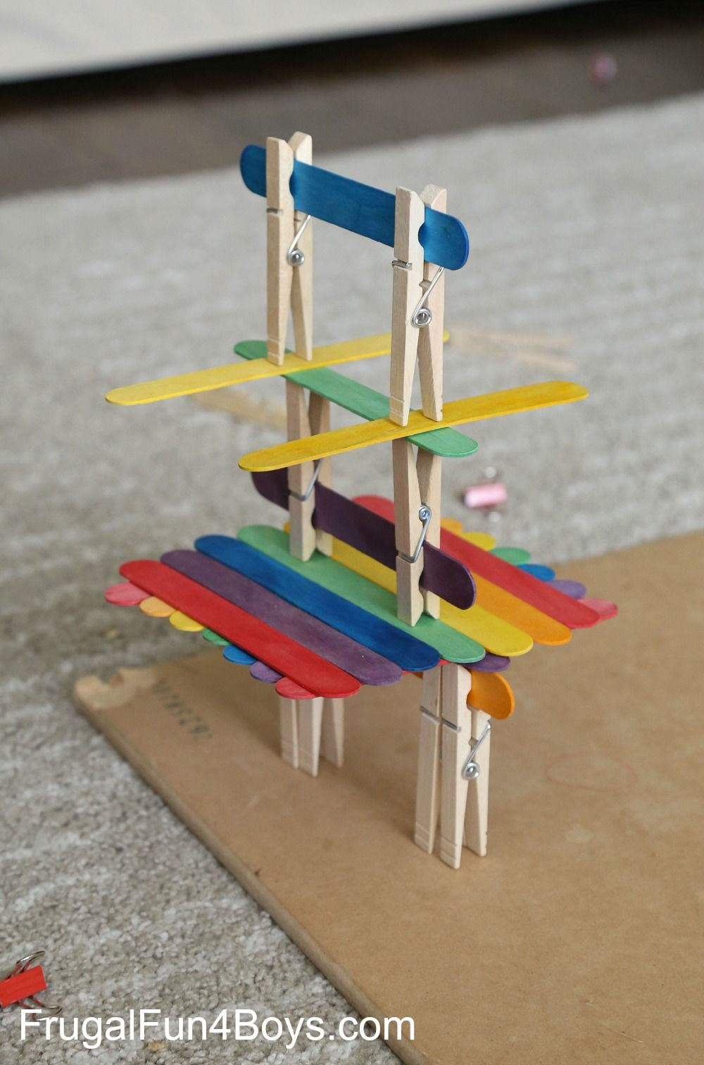 Building With Craft Sticks Clothespins And Binder Clips