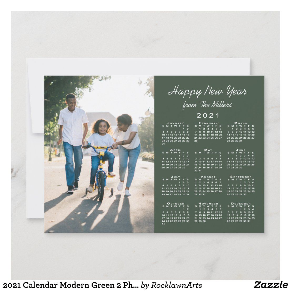 2021 Calendar Modern Green 2 Photo Happy New Year Holiday