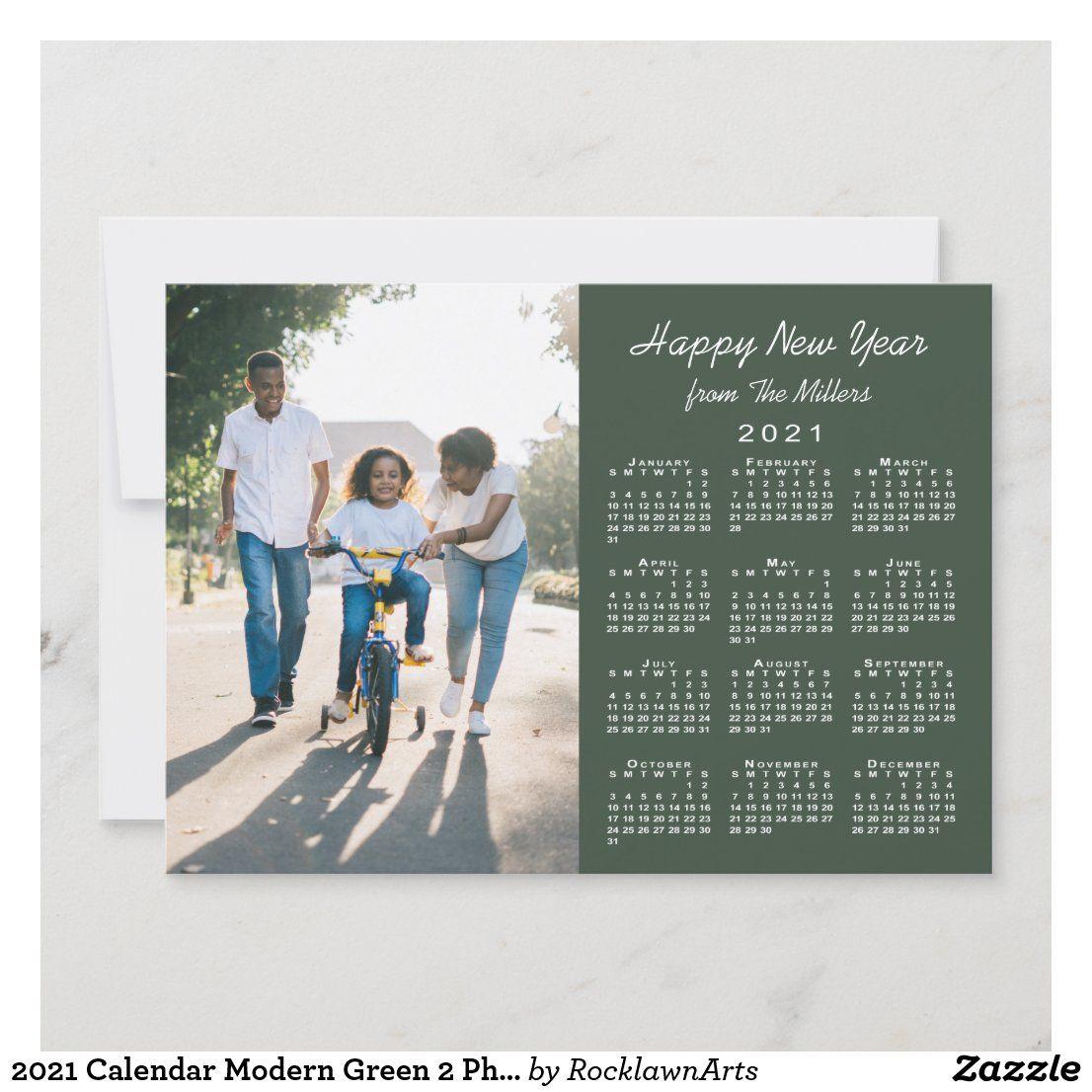 2021 Calendar Modern Green 2 Photo Happy New Year Holiday