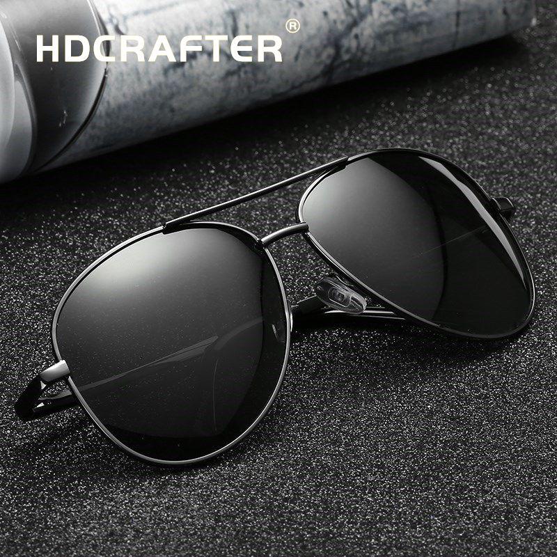fd62471d451 HDCRAFTER pilot sunglasses men polarized uv400 high quality retro vintage  men sunglasses polarized driving sunglasses for male Review