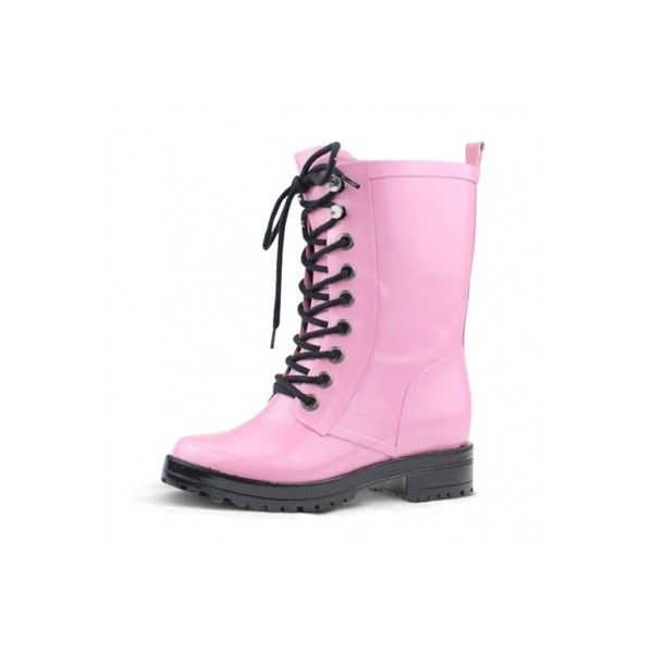 Jaw-dropping Round Toe Low Heel Rain Boots with Lace-up Upper ($39) ❤ liked on Polyvore featuring shoes, boots, ankle booties, pastel, low heel ankle booties, wellies boots, rubber boots, laced up booties and round toe booties
