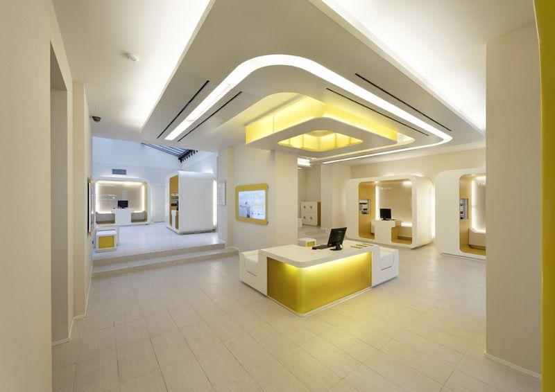 New bank design by mediobanca group false ceiling
