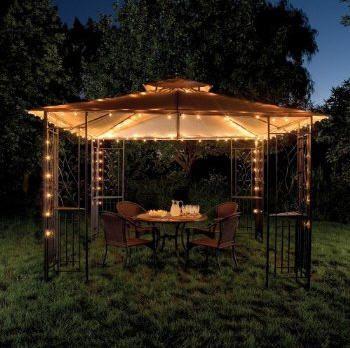 Using Christmas Lights To Brighten Outdoor Space Year Round Backyard Gazebo Gazebo Lighting Gazebo Decorations