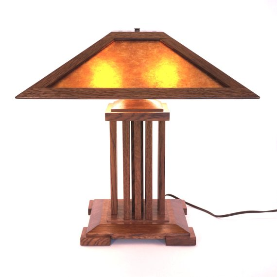 Onandaga Lamp A Spindle Style Mica Lamp In The Stickley And Etsy In 2021 Lamp Craftsman Lamps Oval Table