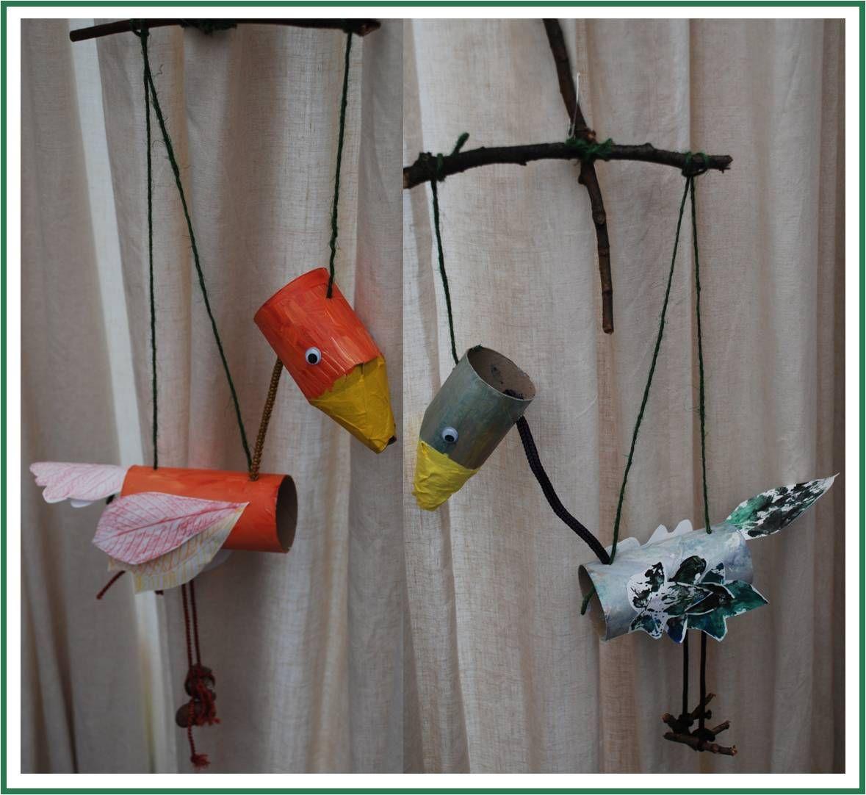 Autumn crafts for kids leaf bird paper roll