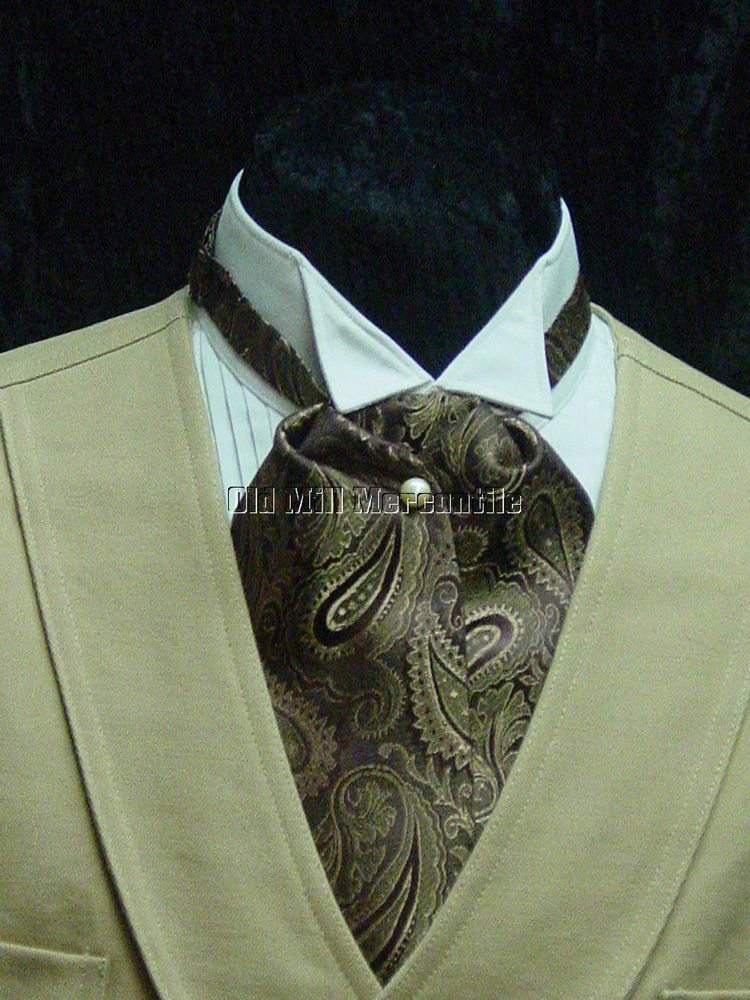 d0ef8be55ac6 Mens ASCOT Victorian wedding old west ascot tie brown and gold paisley  #OldMillMercantile #Ascot